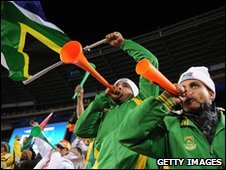 Fans blow the vuvulzelas at the Confederations Cup