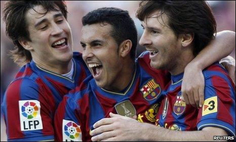 Bojan Krkic, Pedro Rodriguez and Lionel Messi