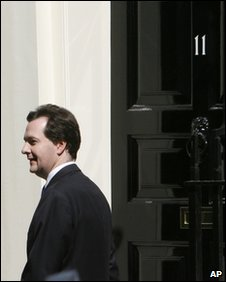 George Osborne outside the door of 11 Downing Street