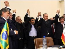 Turkish, Brazilian and Iranian leaders and their foreign ministers celebrate in Tehran