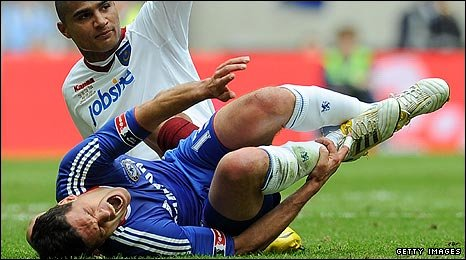 Ballack was injured in the 35th minute of the FA Cup final