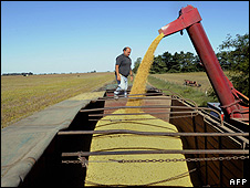 Soybean production in Perez Millan, Argentina - file pic