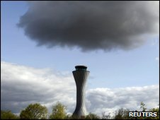 Rain cloud over Edinburgh Airport