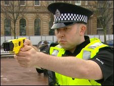 Strathclyde officer with Taser