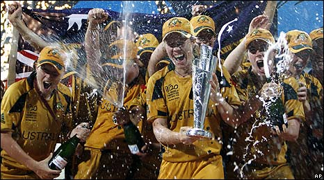 Australia celebrate victory over New Zealand