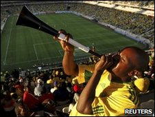 Fan blowing vuvuzela