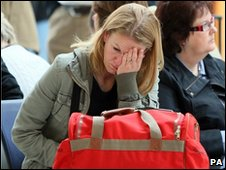 Passenger waiting at George Best Belfast City Airport