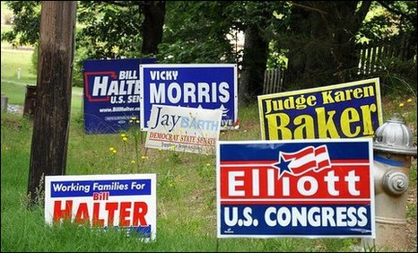Lawn signs for Tuesday's primary elections