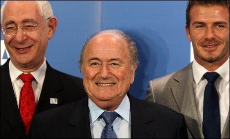 Lord Triesman, Fifa president Sepp Blatter, former England captain David Beckham