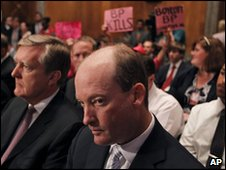 BP America Chairman and President Lamar McKay (centre) waits to speak to the Senate panel, 17 May