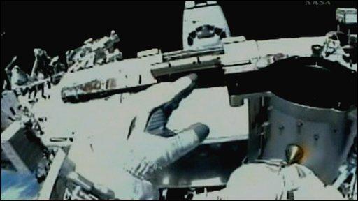 A view from inside an astronaut's helmet