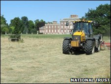 Wimpole Hall with tractor in front of it