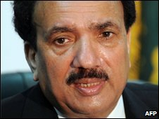 Rehman Malik, Pakistan interior ministry chief speaks during a press conference in Islamabad on February 12, 2009