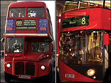 Old and new Routemasters