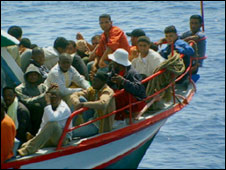 Library pic of African emigrants on boat