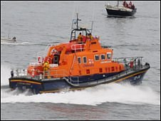 Guernsey lifeboat leaving St Peter Port harbour