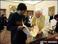 Evo Morales and Pope Benedict XVI