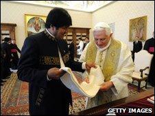 Evo Morales and Pope Benedict XVI