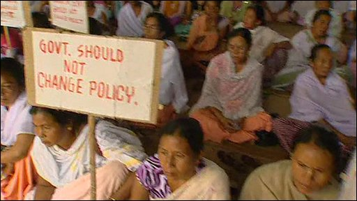 Women in Manipur protesting against the blockade of their state
