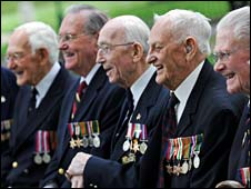Veterans Eric Roderick, Tom Cooke, Vic Viner, John Garrett, Robert Halliday pose at the Imperial War Museum