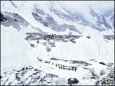The Khumbu Icefall on the southern slopes of Mount Everest