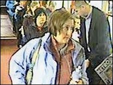 Suzanne Pilley getting off the bus