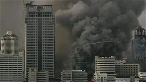 Smoke in the skies over Bangkok