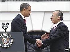 Barack Obama meets Felipe Calderon