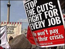 Stop the cuts protest banner in Trafalgar Square