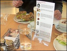 John Yeadon's exhibition featured the death row menu and a naked obese woman eating cake, as pictured on the flyer on the table