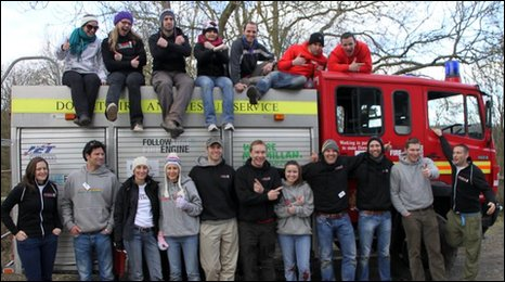 The crew members taking part in a charity