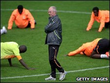 Sven-Goran Eriksson with members of the Ivory Coast squad at their training camp in Switzerland