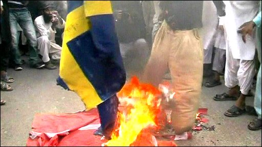 Protesters burn flags in Pakistan