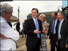 David Cameron at Mash Direct farm