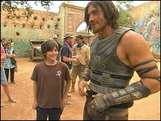 William Foster (centre) and Jake Gyllenhaal (right) on-set in Prince of Persia: The Sands of Time