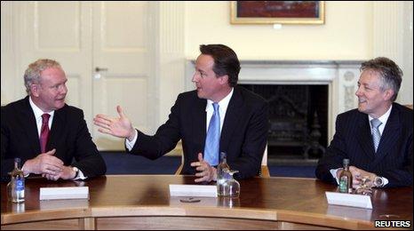Martin McGuinness, David Cameron and Peter Robinson