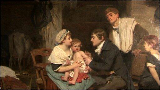 Painting shows Edward Jenna vaccinating a small boy