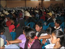 Residents gathered in a hall in Sipacapa
