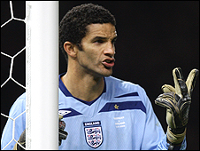 David James in goal for England