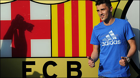 David Villa with the Barcelona badge