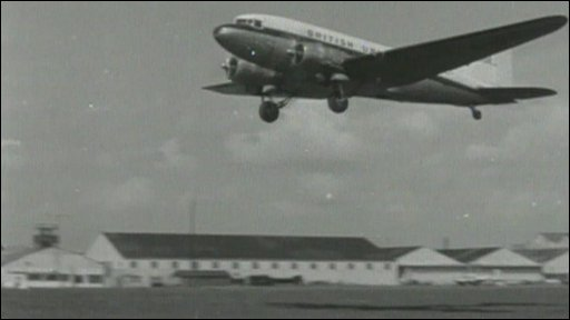 A plane takes off from Southampton Airport in the 1960s