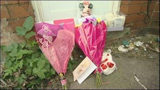 Flowers left for Charlotte Avenall