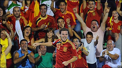 Juan Mata celebrates scoring against Estonia