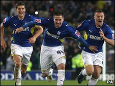 Cardiff players celebrate their semi-final win over Leicester