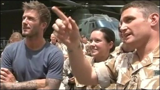 Beckham visits British soldiers in Helmand