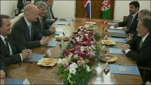 William Hague and Hamid Karzai hold talks