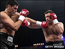 Chagaev (right) in action against Meehan