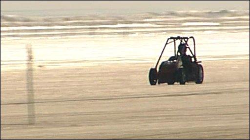 Lawnmower at Pendine Sands