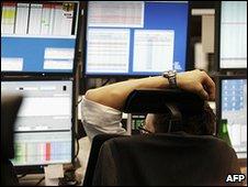 Worker at the Frankfurt Stock Exchange