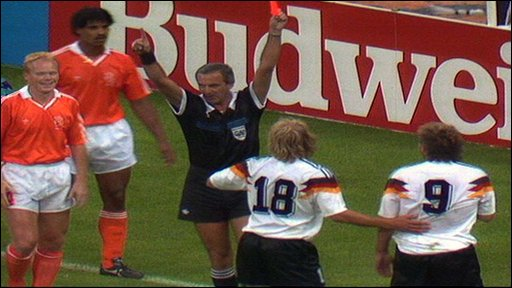 The referee intervenes at West Germany v Netherlands 1990